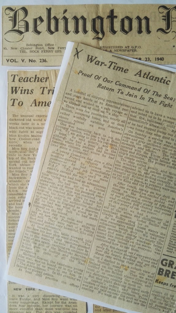 1940 Jim's newspaper cuttings regarding her trip to America