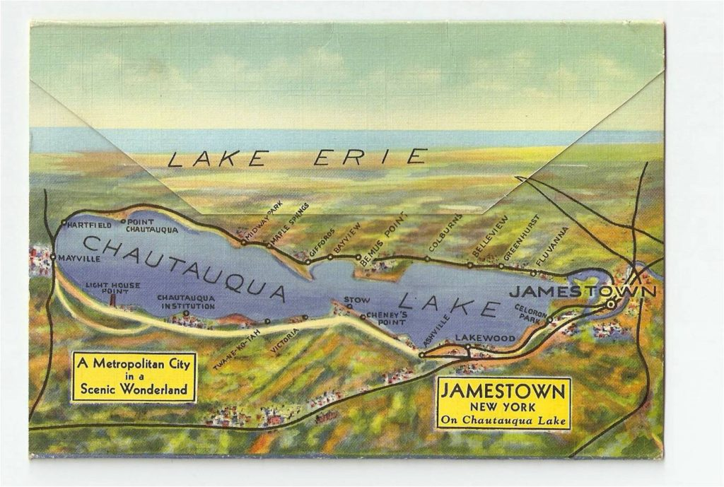 One of Jim's many souvenir postcards showing Chautauqua Lake with Jamestown at the eastern end