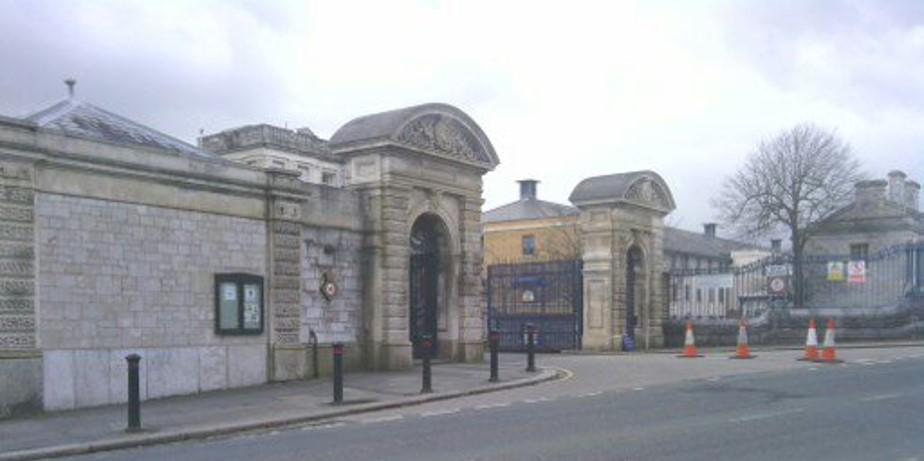 Entrance to HMS Drake, Devonport, Plymouth, where Hugh did his basic naval training