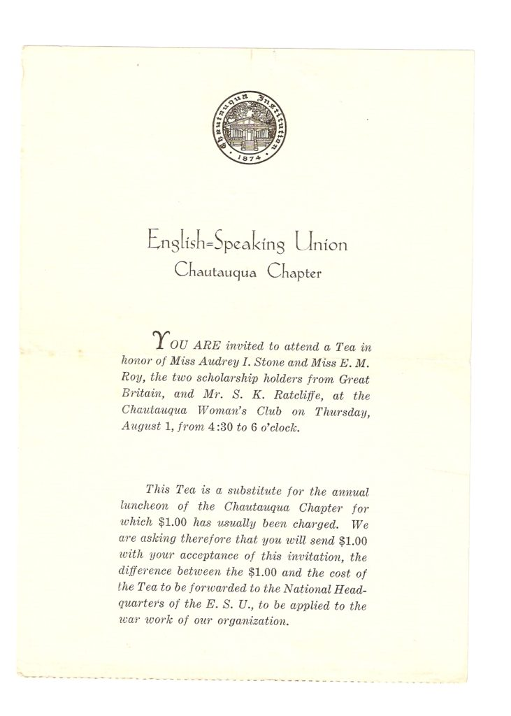 Invitation to Tea at which Jim gave a speech