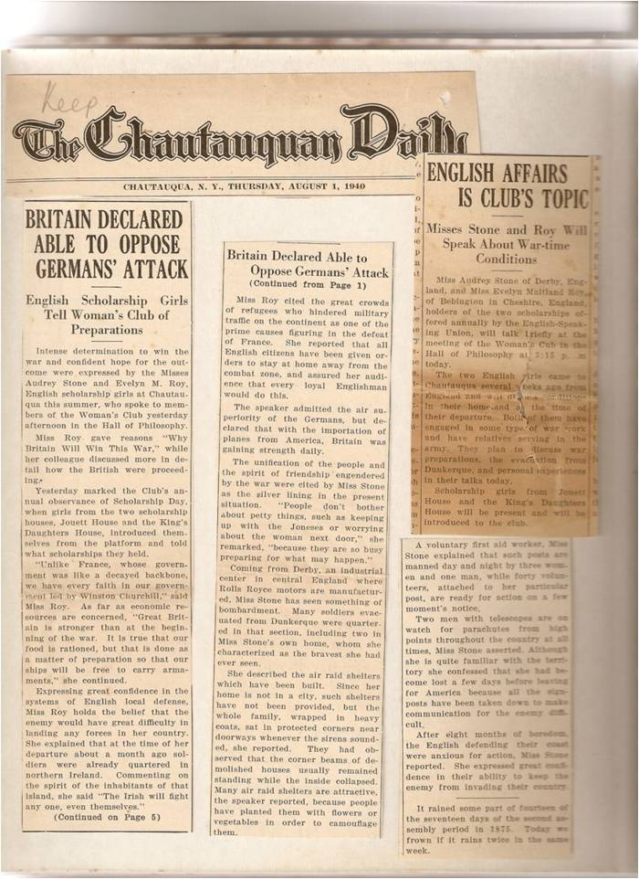 Cuttings from the Chautauqua Daily which reported Jim's speech