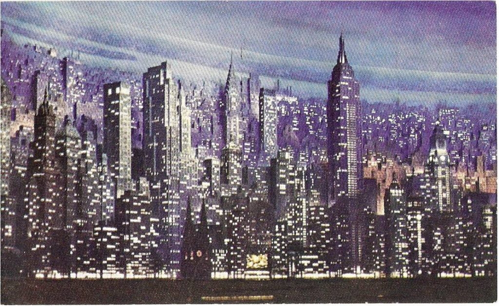 New York skyscrapers at night, one of Jim's souvenir postcards